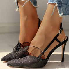 Women's Cloth Mesh Stiletto Heel Pumps With Buckle Stitching Lace shoes