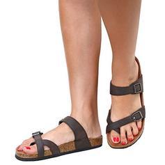 De mujer Piel Tacón plano Sandalias Planos con Hebilla zapatos
