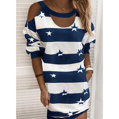 Print/Color Block/Striped Long Sleeves/Cold Shoulder Sleeve Shift Above Knee Casual T-shirt Dresses