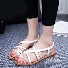 Women's Leatherette Flat Heel Sandals Peep Toe Slingbacks With Buckle Others shoes