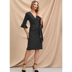 PolkaDot 1/2 Sleeves/Flare Sleeves Bodycon Knee Length Party/Elegant Dresses
