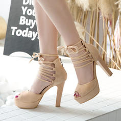 Women's Suede Stiletto Heel Sandals Pumps Platform Peep Toe With Bowknot Lace-up Hollow-out shoes