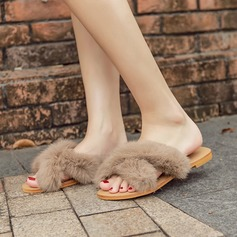 Women's Suede Flat Heel Flats Slippers With Faux-Fur shoes