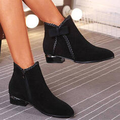 Women's PU Chunky Heel Boots With Bowknot Zipper Braided Strap Solid Color shoes