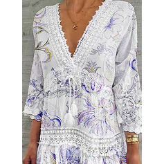 Lace/Print/Floral 3/4 Sleeves Shift Above Knee Casual/Elegant Dresses
