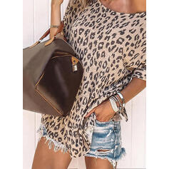 Leopard Rund hals Korte ærmer Casual T-shirts