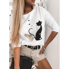 Animal-Print Rundhalsausschnitt Lange Ärmel Freizeit T-shirts