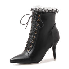 Women's Leatherette Stiletto Heel Pumps Boots Ankle Boots Martin Boots With Ruched Lace-up shoes