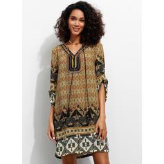 Print 3/4 Sleeves Shift Knee Length Casual/Boho/Vacation Dresses