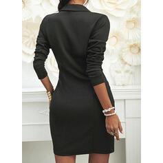 Jednolita Długie rękawy Bodycon Nad kolana Mała czarna/Casual/Elegancki Sukienki