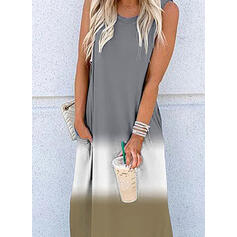 Color Block Sleeveless Shift Casual Maxi Dresses