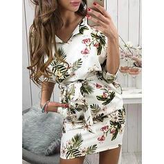 Nadrukowana/Kwiatowy Krótkie rękawy Bodycon Nad kolana Casual/Elegancki Sukienki