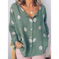 PolkaDot V Neck Long Sleeves Button Up Casual Elegant Blouses
