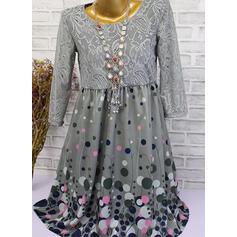 Encaje/Lunares Mangas 3/4 Acampanado Hasta la Rodilla Casual Vestidos