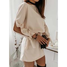 Solid 3/4 Sleeves Slit Sleeve Sheath Above Knee Casual Dresses