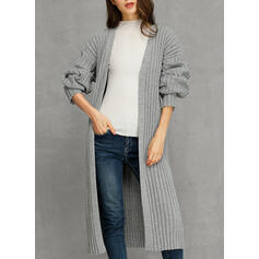 Solid Ribbed Casual Long Loose Cardigan