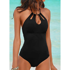 Solid Color Halter Fashionable One-piece Swimsuits