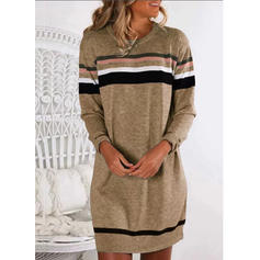 Striped Long Sleeves Shift Above Knee Casual Dresses