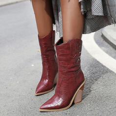 Donna PU Tacco spesso Stivali Stivali altezza media scarpe