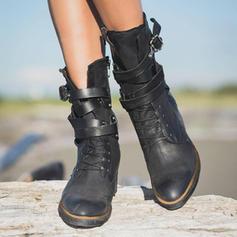 Vrouwen PU Low Heel Laarzen met Gesp Rits Vastrijgen schoenen
