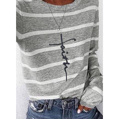 Print Striped Figure Round Neck Long Sleeves Casual T-shirts