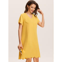Solid Short Sleeves Shift Knee Length Casual Dresses