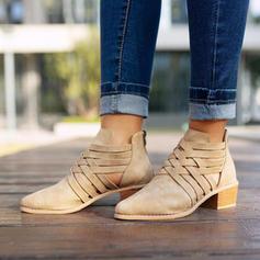 Femmes PU Talon bas Bottes avec Zip Ouvertes chaussures