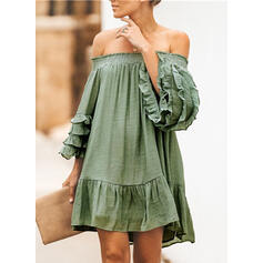 Solid Long Sleeves/Flare Sleeves Shift Above Knee Sexy/Casual Dresses