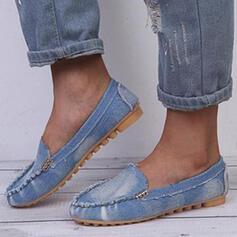 Női PU Lapos sarok Lakások Kerek lábujj Papucscipő Slip On -Val tépőzáras Szolid szín cipő