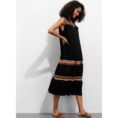 Print Sleeveless Shift Midi Casual Dresses
