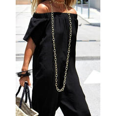 Solid Off-shoulder Korte ærmer Casual jumpsuit