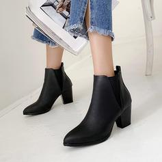 Femmes PU Talon bottier Escarpins Bottes avec Bande élastique chaussures