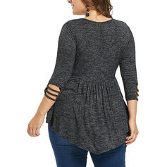 Solid Round Neck 3/4 Sleeves Casual Plus Size Blouses