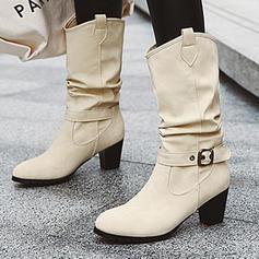 Жіночі ПУ Квадратні підбори Чоботи середньої довжини з Пряжка Сюрпризи взуття