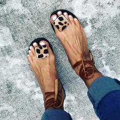 Frauen PU Flascher Absatz Sandalen Peep Toe mit Zuschnüren Schuhe