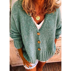 Solid Cable-knit Chunky knit V neck Cardigan