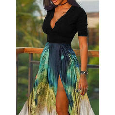 Print/Color Block Short Sleeves A-line Skater Casual/Vacation Midi Dresses