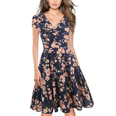 Print/Floral Short Sleeves A-line Knee Length Casual/Party Dresses