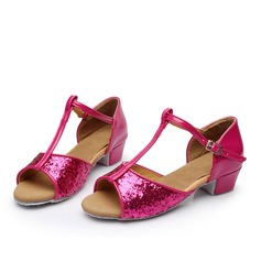 Women's Latin Sandals Leatherette Sparkling Glitter With T-Strap Buckle Hollow-out Latin