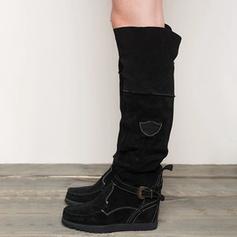 Femmes Suède Talon plat Bottes hautes avec Boucle chaussures