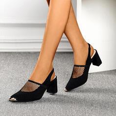Donna Mesh Tacco spesso Stiletto con Cava-out scarpe