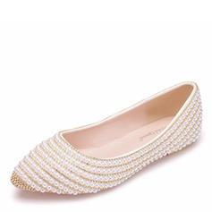 Femmes Similicuir Talon plat Bout fermé Chaussures plates avec Pearl