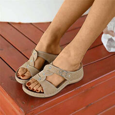 Women's PU Wedge Heel Sandals Slippers With Crystal shoes