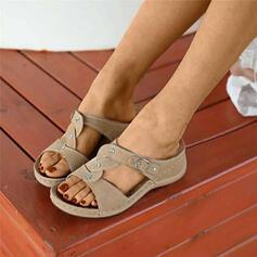 Frauen PU Keil Absatz Sandalen Pantoffel mit Kristall Schuhe