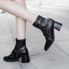 Women's Leatherette Chunky Heel Pumps Boots Ankle Boots With Rivet shoes