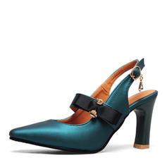 Women's PU Stiletto Heel Sandals Pumps Slingbacks With Bowknot shoes