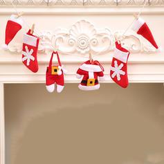 Feliz Navidad Tela no tejida Decoración navideña (Juego de 6)