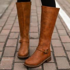 Donna PU Tacco spesso Stivali Stivali al ginocchio con Fibbia Cerniera Colore solido scarpe