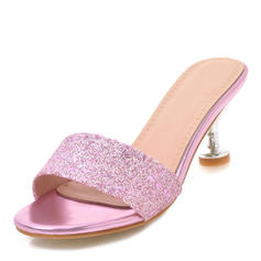 Women's Sparkling Glitter Stiletto Heel Sandals Pumps Peep Toe Slingbacks With Others shoes