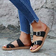 Donna Similpelle Senza tacco Sandalo Punta aperta Ciabatte con Fibbia scarpe